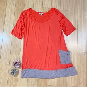 Anthropologie BORDEAUX Acadia colorblock top, M.